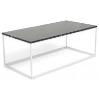 Sohvapöytä New York 120x60x45 cm musta marmori/teräs valkoisilla jaloilla
