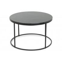 Sohvapöytä New York Ø 80x50 cm musta marmori/teräs mustilla jaloilla