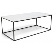 Sohvapöytä New York 120x60x45 cm valkoinen marmori/teräs mustilla jaloilla