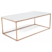 Sohvapöytä New York 120x60x45 cm valkoinen marmori/kupari
