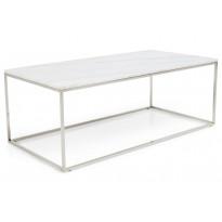 Sohvapöytä New York 120x60x45 cm valkoinen marmori/teräs teräs jaloilla