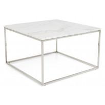 Sohvapöytä New York 75x75x45 cm valkoinen marmori/teräs teräs jaloilla