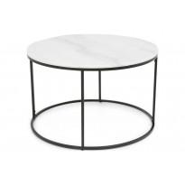 Sohvapöytä New York Ø 80x50 cm valkoinen marmori/teräs mustilla jaloilla