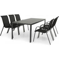Ruokailuryhmä Hampshire, 6 tuolia, musta