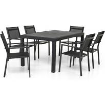 Ruokailuryhmä Maggiore, 160cm, 6 pinottavaa tuolia, harmaa/musta