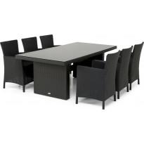 Ruokailuryhmä Hamilton 210cm, 6 tuolia, musta