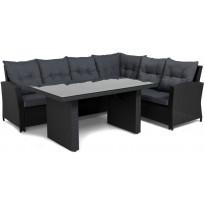 Oleskeluryhmä James, 6-istuttava sohva + pöytä, musta