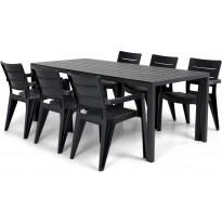 Ruokailuryhmä Lazio, 205cm, 6 tuolia, musta/harmaa