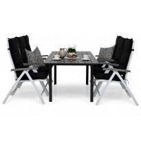 Ruokailuryhmä Gijon 6 Sitges tuolilla valkoinen/harmaa mustat pehmusteet