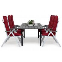 Ruokailuryhmä Gijon 6 Sitges tuolilla valkoinen/harmaa punaiset pehmusteet