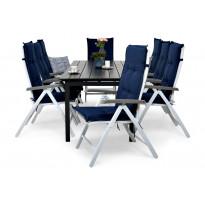 Ruokailuryhmä Gijon 8 Sitges tuolilla musta/valk./harm.siniset pehmusteet