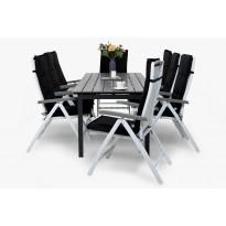 Ruokailuryhmä Gijon 8 Sitges tuolilla valkoinen/harmaa mustat pehmusteet