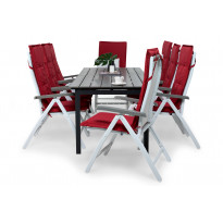 Ruokailuryhmä Gijon 8 Sitges tuolilla valkoinen/harmaa punaiset pehmusteet