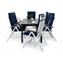 Ruokailuryhmä Gijon 8 Sitges tuolilla valkoinen/harmaa siniset pehmusteet