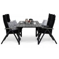 Ruokailuryhmä Gijon 150-210, 4 Sitges tuolilla musta/harmaa mustat pehmusteet