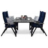 Ruokailuryhmä Gijon 150-210, 4 Sitges tuolilla musta/harmaasiniset pehmusteet