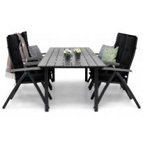 Ruokailuryhmä Gijon 6  tuolia musta/harm. 220-280 cm mustat pehmusteet