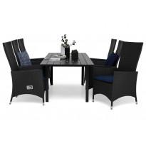 Ruokailuryhmä Gijon 6 Lusaka nojatuolilla 150-210 cm musta siniset pehmusteet
