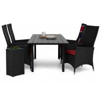Ruokailuryhmä Gijon 4 Lusaka nojatuolilla 150-210 cm musta punaiset pehmusteet