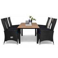 Ruokailuryhmä Gijon 6 Lusaka tuolilla 161-210 cm musta siniset pehmusteet