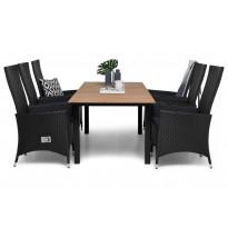 Ruokailuryhmä Gijon 6 Lusaka tuolilla 161-210 cm musta harmaat pehmusteet