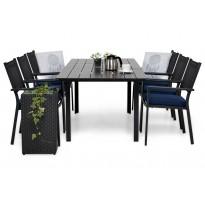 Ruokailuryhmä Gijon 6 Pontevedra tuolilla 152-210 cm musta siniset pehmusteet