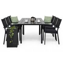 Ruokailuryhmä Gijon 6 Pontevedra tuolilla 152-210 cm musta harmaat pehmusteet