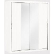 Vaatekaappi Gwyneth, liukuovet + peili, valkoinen