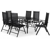 Ruokailuryhmä Primavera 150x90cm, 6 tuolia, musta