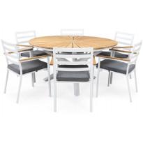 Ruokailuryhmä Oliver Ø140cm, 6 tuolia pehmusteilla, tiikki/valkoinen