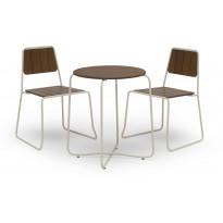 Parvekesetti Sheffield, Ø67cm pöytä, 2 tuolia, ruskea