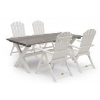 Ruokailuryhmä Ashford, 86x195cm, 4 tuolia, harmaa/valkoinen