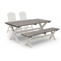 Ruokailuryhmä Ashford, 86x195cm, penkki, 2 tuolia, harmaa/valkoinen