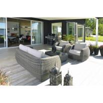 Sohvaryhmä Emile, pöytä, sohva, 2 nojatuolia, valkoinen/harmaa