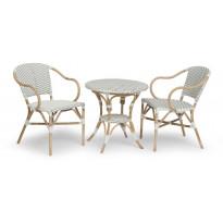 Parvekesetti Birmingham, Ø69cm pöytä, 2 tuolia, valkoinen/ruskea