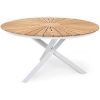 Ruokapöytä Oliver, Ø140cm, valkoinen/tiikki