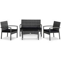 Oleskeluryhmä Thor Light, 2-istuttava sohva + 2 tuolia + pöytä, harmaa/musta