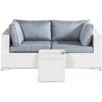 Loungeryhmä Bahamas 2-istuttava sohva + sivupöytä, valkoinen