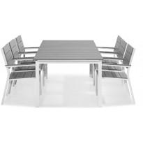 Ruokailuryhmä Tunis, 6 tuolilla, valkoinen/harmaa