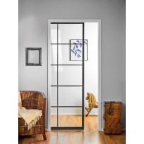 Liukuovi seinän sisään Stella Pocket Door M8, ristikko, 825x2040mm, musta