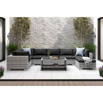 Oleskeluryhmä Bahamas, 7-istuttava sohva + sohvapöytä hyllyllä, harmaa/musta