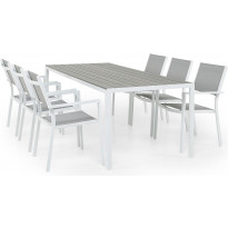 Ruokailuryhmä Tunis/Sierra, 205cm pöytä + 6 pinottavaa tuolia, valkoinen/harmaa