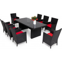Ruokailuryhmä Majestic/Thor Lyx, 210cm, pöytä + 6 tuolia, musta/musta
