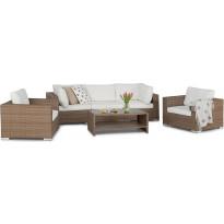 Oleskeluryhmä Bahamas, 3-istuttava sohva + 2 nojatuolia + sohvapöytä hyllyllä, hiekka/valkoinen