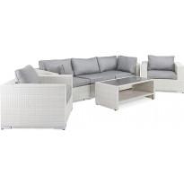 Oleskeluryhmä Bahamas, 3-istuttava sohva + 2 nojatuolia + sohvapöytä hyllyllä, valkoinen/harmaa