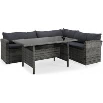 Oleskeluryhmä James Light, 4-istuttava sohva + sohvapöytä, oikea, harmaa