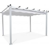 Pergola 2.95x3.95m, laskostettava katto, valkoinen