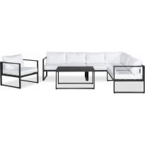 Oleskeluryhmä Silvia, 6-istuttava sohva + nojatuoli + sohvapöytä, musta/valkoinen
