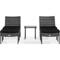 Oleskeluryhmä Thor, 2 nojatuolia + 2 rahia + sivupöytä, harmaa/musta