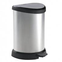 Metallisoitu poljinjäteastia Curver 20L, 303x268x448mm, hopea/musta